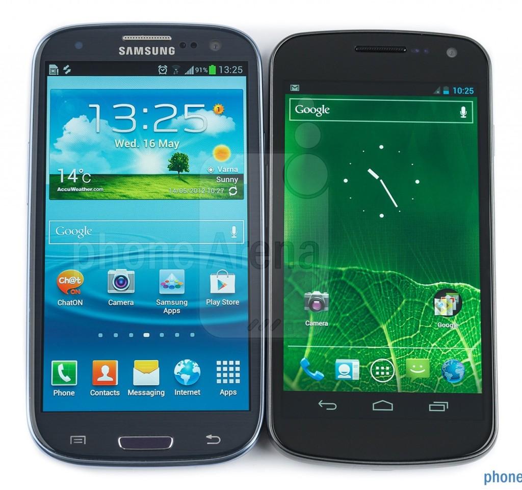 Фото лицевой панели Samsung Galaxy S III против Nexus S