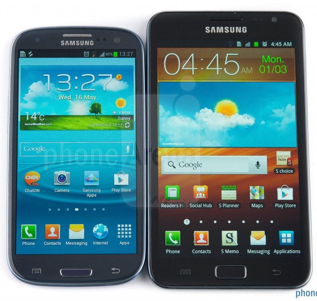 Фото лицевой панели Samsung Galaxy S III против Galaxy Note