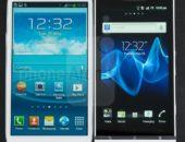 Фото лицевой панели Samsung Galaxy S III против Sony Xperia S