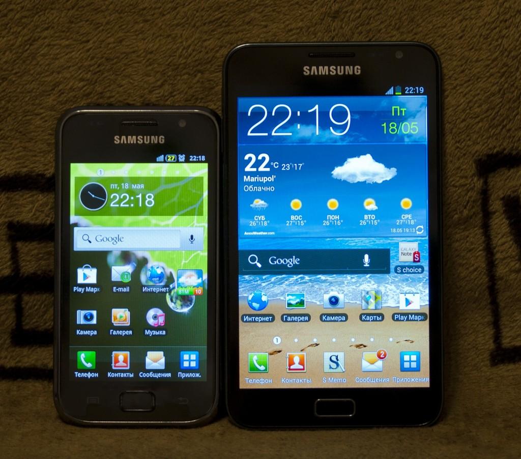 Сравнение смартфонов Samsung Galaxy S I9000 и Galaxy Note N7000