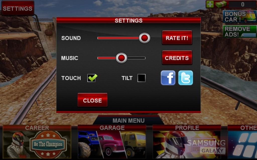 Offroad Legends для Samsung Galaxy Note, S III, S2, Ace - настройки игры