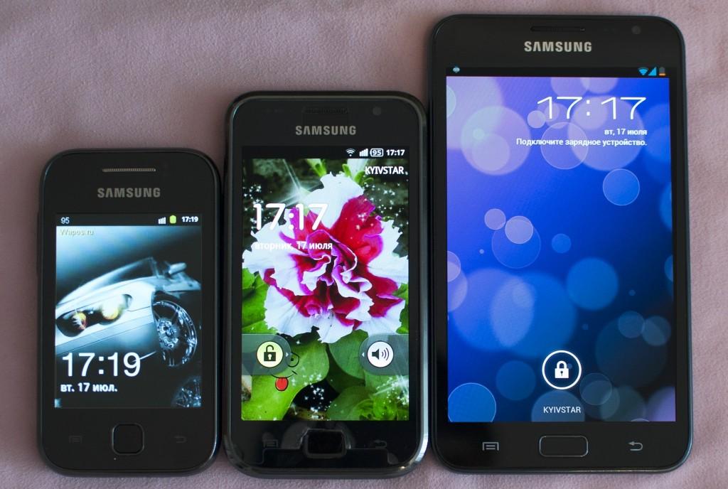 Samsung Galaxy Y S5360 сравнение с Samsung Galaxy Note и Galaxy S i9000