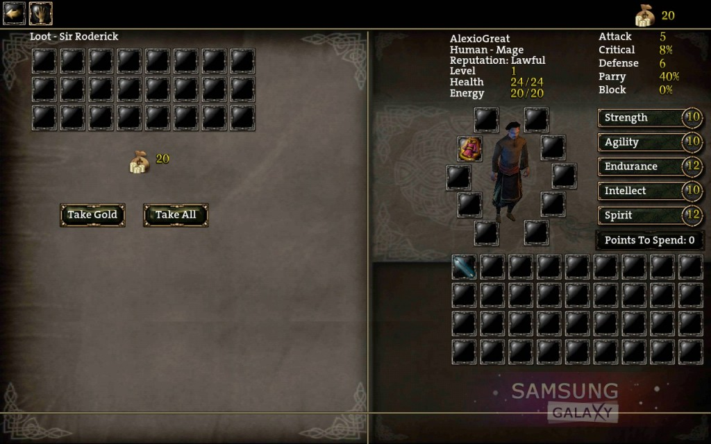 Aralon: Sword and Shadow HD - инвентарь героя