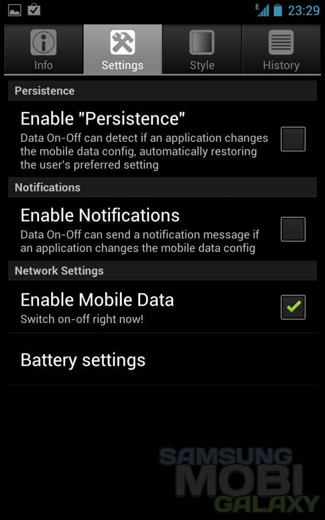 Data ON-OFF - виджет отключения данных на Samsung Galaxy