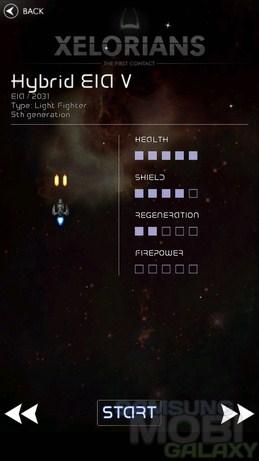 Игра Xelorians для Android, типы кораблей