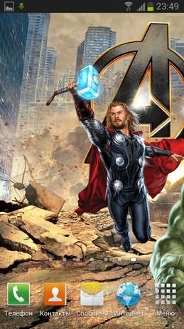 The Avengers Live Wallpaper - обои с часами по фильму