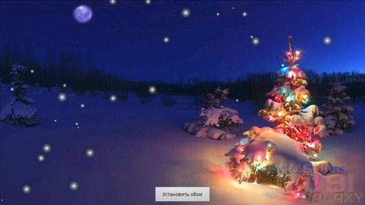 Christmas Tree Live Wallpaper – нарядная елочка в лесу для Android