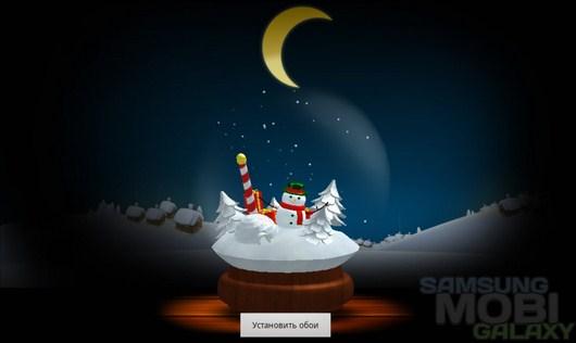Frosty Snowman Live Wallpaper – хрустальный шар с снеговиком для Android