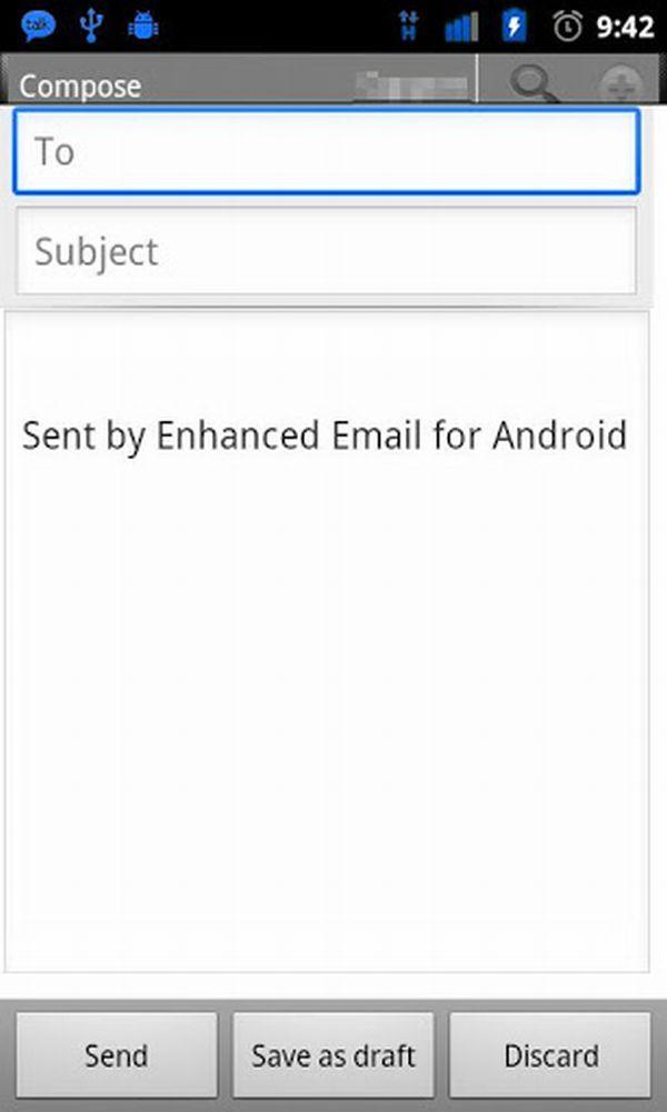 отправка сообщения Enhanced Email на Android