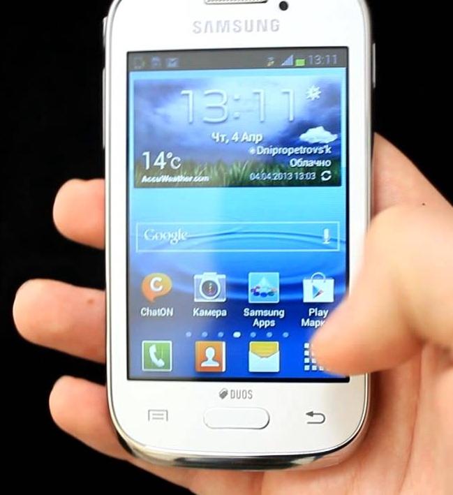 Смартфон Samsung Galaxy Young S6312 в ладони. Обзор устройства: технические характеристики, фото, видео