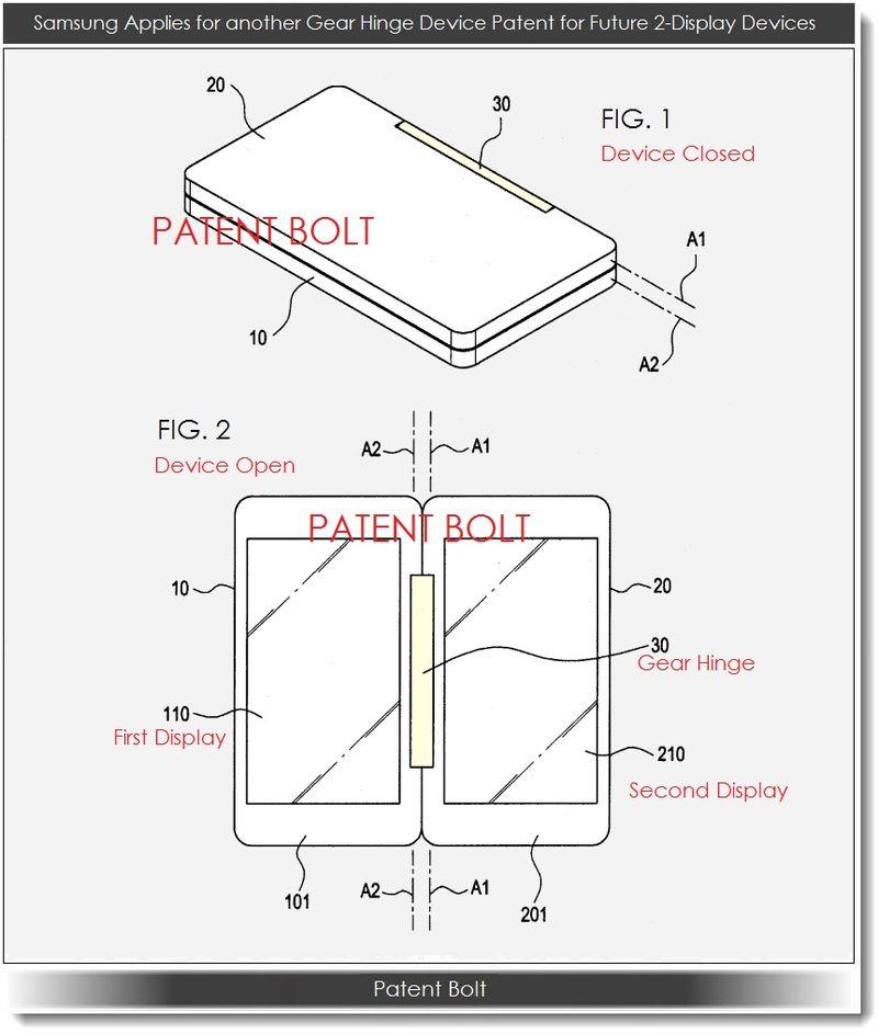 Компания Samsung запатентовала механизм для смартфонов с двумя дисплеями