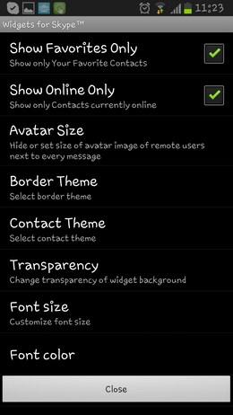 Widgets for Skype – дополнительные виджеты для Android
