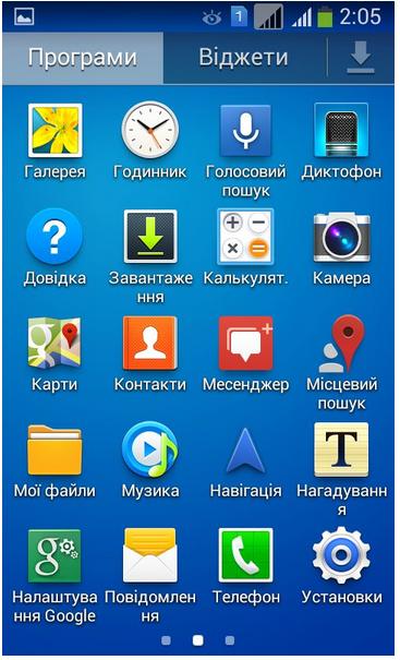 Интерфейс смартфона Samsung Galaxy Ace 3