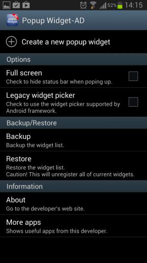 Popup Widget – минимизация виджетов