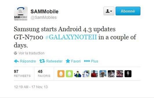 Samsung Galaxy Note 2 скоро получит обновление Android 4.3