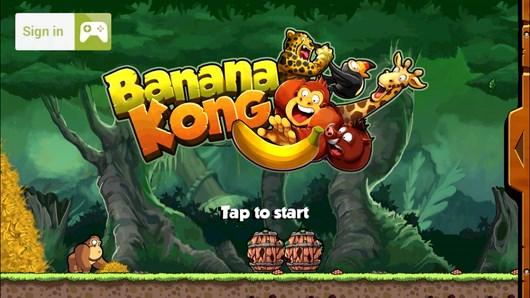 Горила убегающая от урагана в платформере Banana Kong для Android