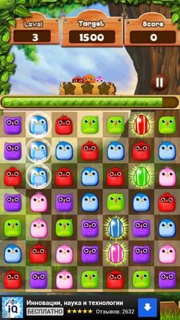 Собирайте цепи из птиц одного цвета в игре Birds Legends для Android