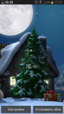 Прекрассная рожденственская ночь на живых обоях Christmas Moon free для Android
