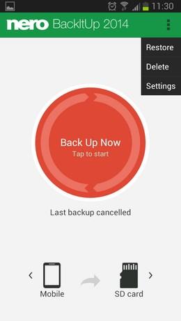 Программа для создания резервных копий Nero BackItUp для Android