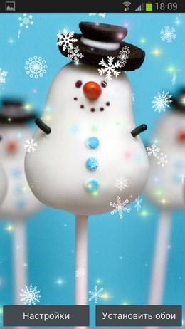 Милые интерактивные обои Снеговики для Android