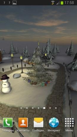 Праздничные обои с информацией о погоде Winter 3D, True Weather для Android