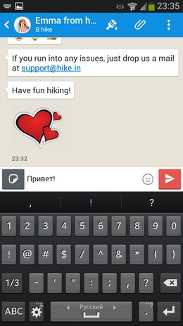 Бесплатный обмен сообщениями Hike для Android