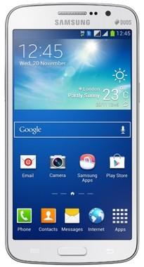 Белый телефон с синим фоном