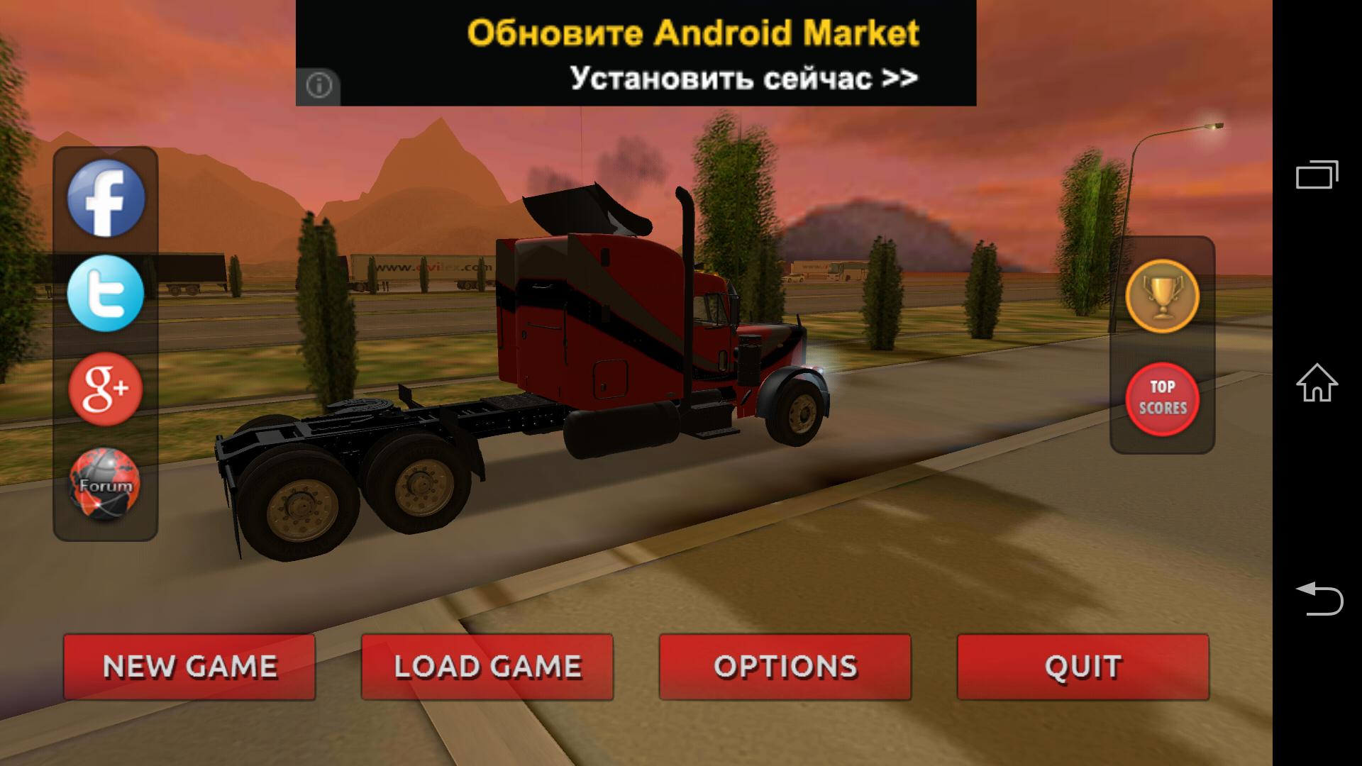 Меню - Truck Simulator 3D для Android