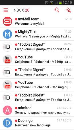 Лучший почтовый клиент myMail для Android