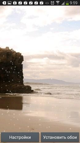 Скала и шторм - Beach Wallpaper для Android