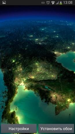 Обои Earth Satellite Live Wallpaper с видом на планету со спутника