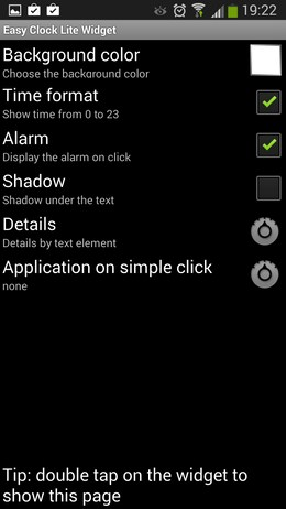 Настройка виджета Easy Clock Lite Widget для Android