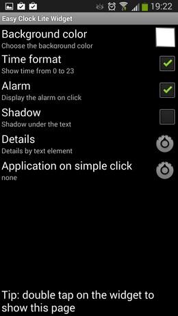 Настройка виджета Easy Clock Lite Widget для Android