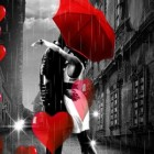 Осенняя любовь HD – обои с поцелуем под дождем