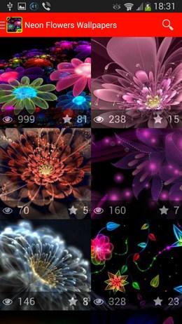 Обои с неоновыми цветами Neon Flowers Wallpapers для Android