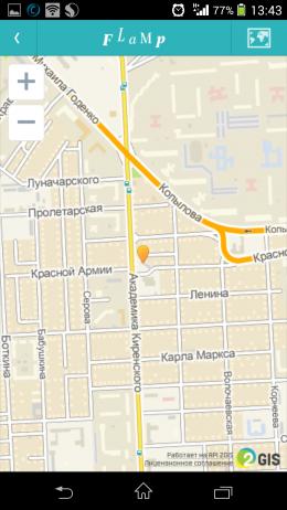 Расположение на карте - Flamp для Android