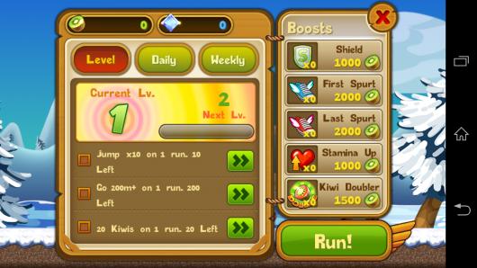 Выбор примочек - Kiwi Dash для Android