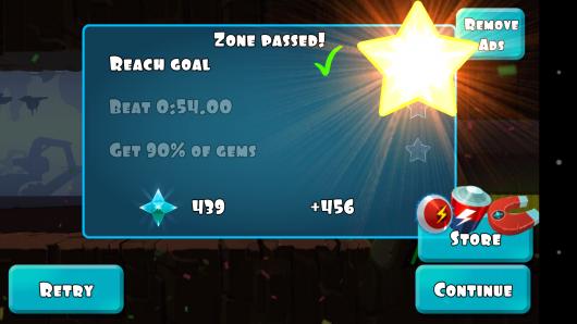 Результат игры - Rock Runners для Android