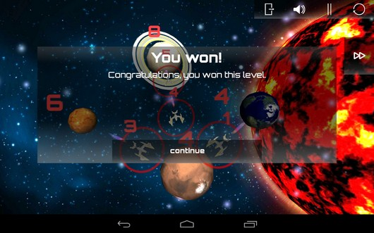 Победа в новом уровне - SpaceShip Commander для Android