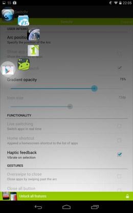 настройки Управление приложениями Switchr  для Android