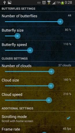 Настройки обоев Butterfly Meadow для Android