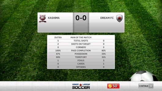 Итоги проведенной игры - Dream League Soccer для Android