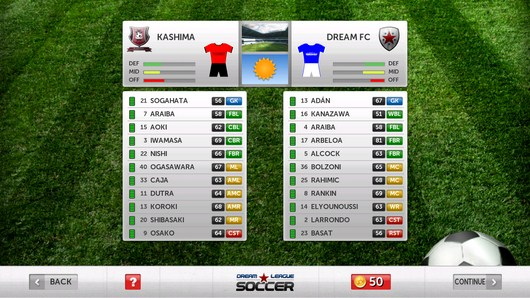 Составы команд - Dream League Soccer для Android