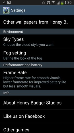 Опции в Doodle Earth для Android