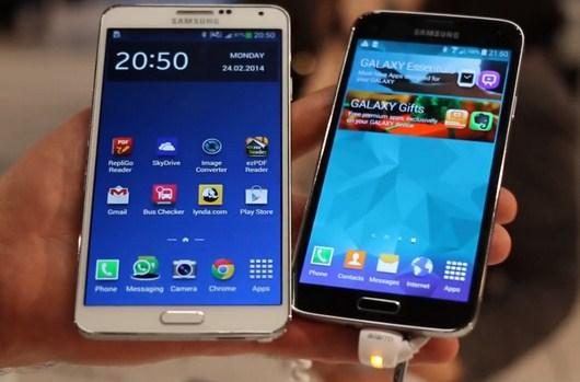 Сравнительное видео Samsung Galaxy S5 и Galaxy Note 3