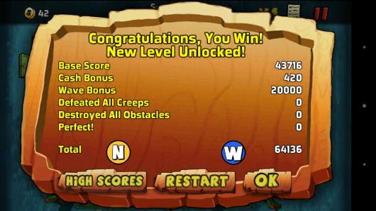 Результат игры - The Creeps! для Android