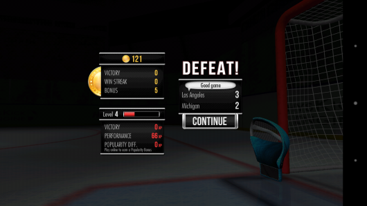 Результаты игры - Hockey Showdown для Android