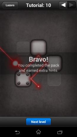 Результат игры - Lazors для Android