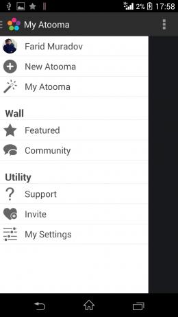 Меню - Atooma для Android