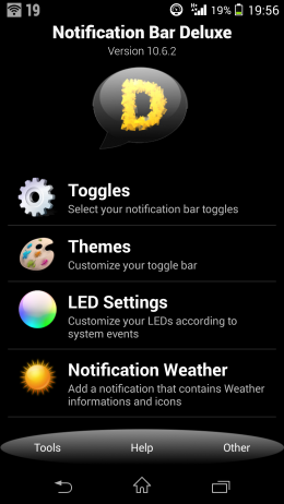 Меню -  Notification Bar Deluxe для Android